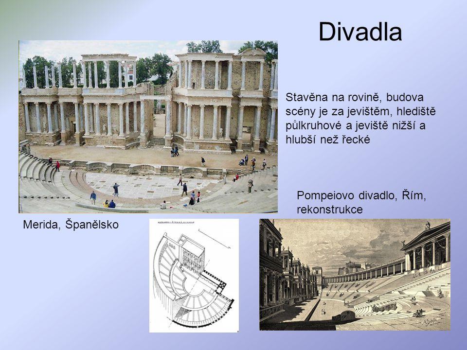Divadla Stavěna na rovině, budova scény je za jevištěm, hlediště půlkruhové a jeviště nižší a hlubší než řecké.