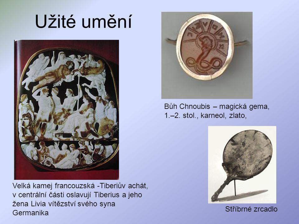 Užité umění Bůh Chnoubis – magická gema, 1.–2. stol., karneol, zlato,