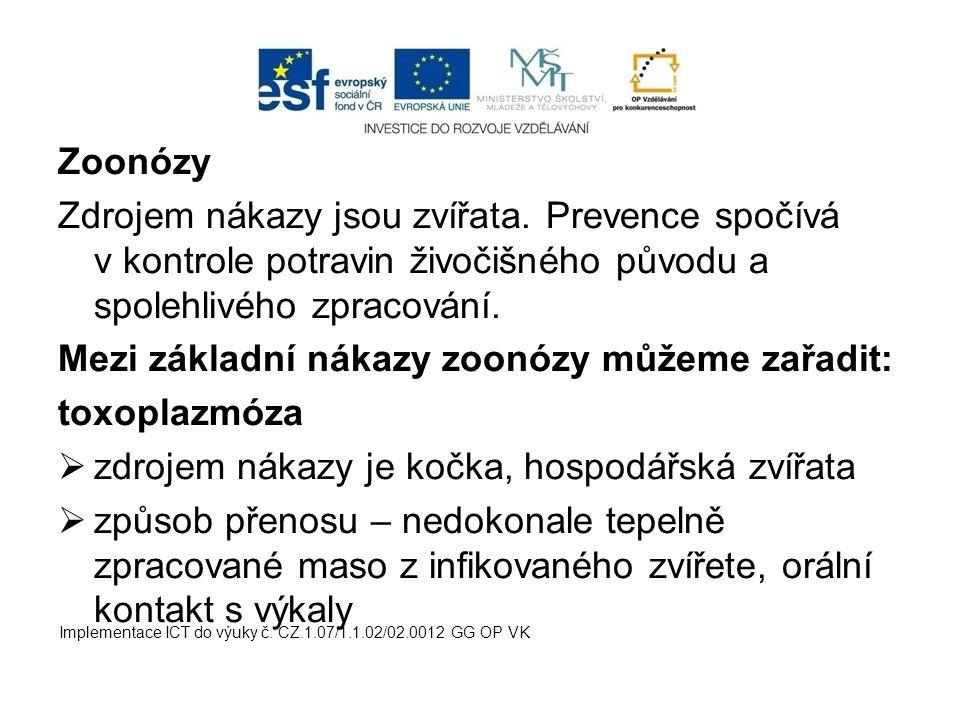 Mezi základní nákazy zoonózy můžeme zařadit: toxoplazmóza