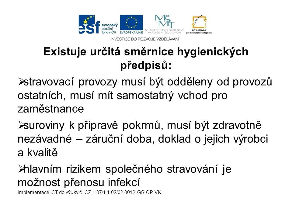 Existuje určitá směrnice hygienických předpisů: