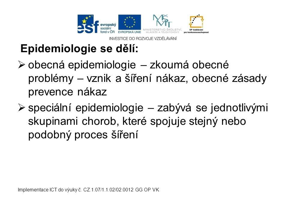 Epidemiologie se dělí: