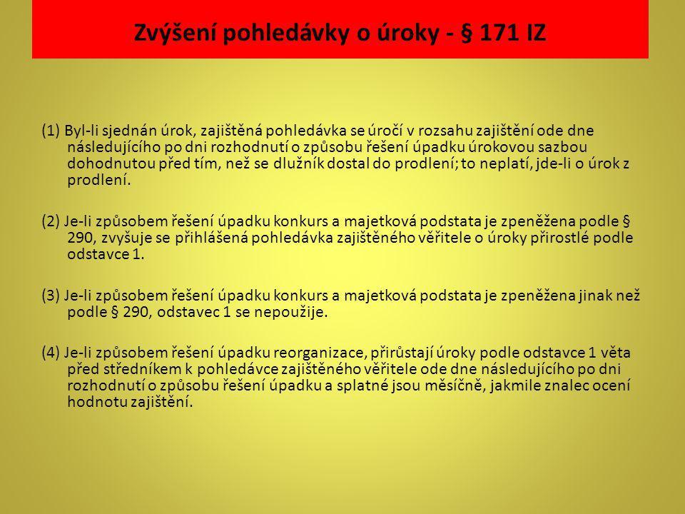 Zvýšení pohledávky o úroky - § 171 IZ