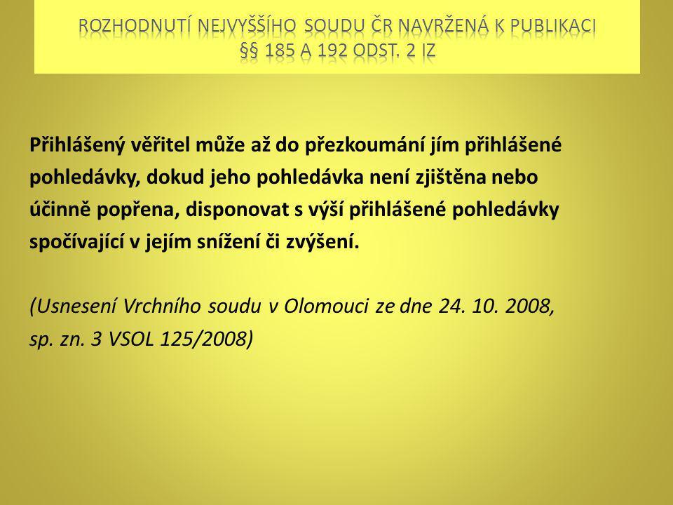 Rozhodnutí nejvyššího soudu ČR navržená k publikaci §§ 185 a 192 odst