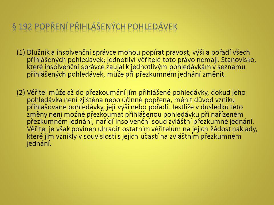 § 192 popření přihlášených pohledávek