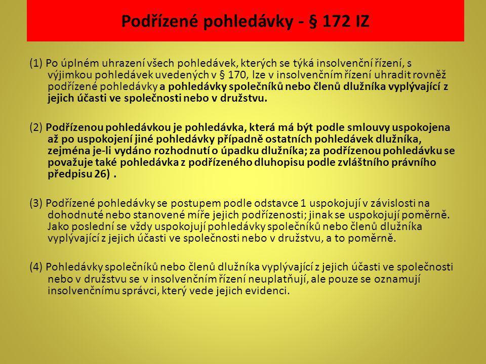 Podřízené pohledávky - § 172 IZ