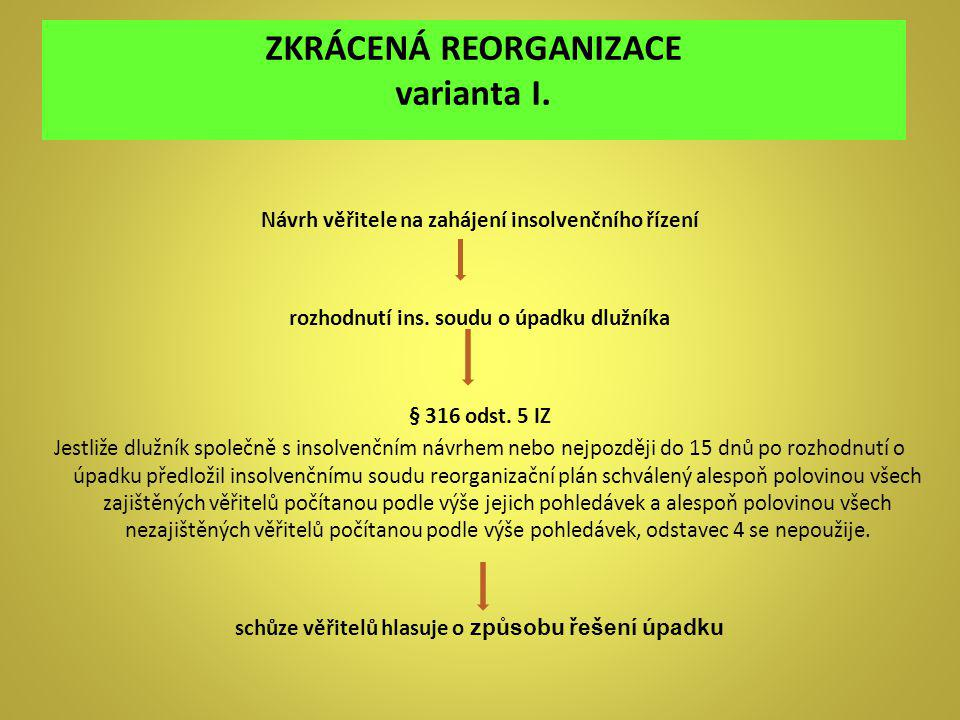 ZKRÁCENÁ REORGANIZACE varianta I.