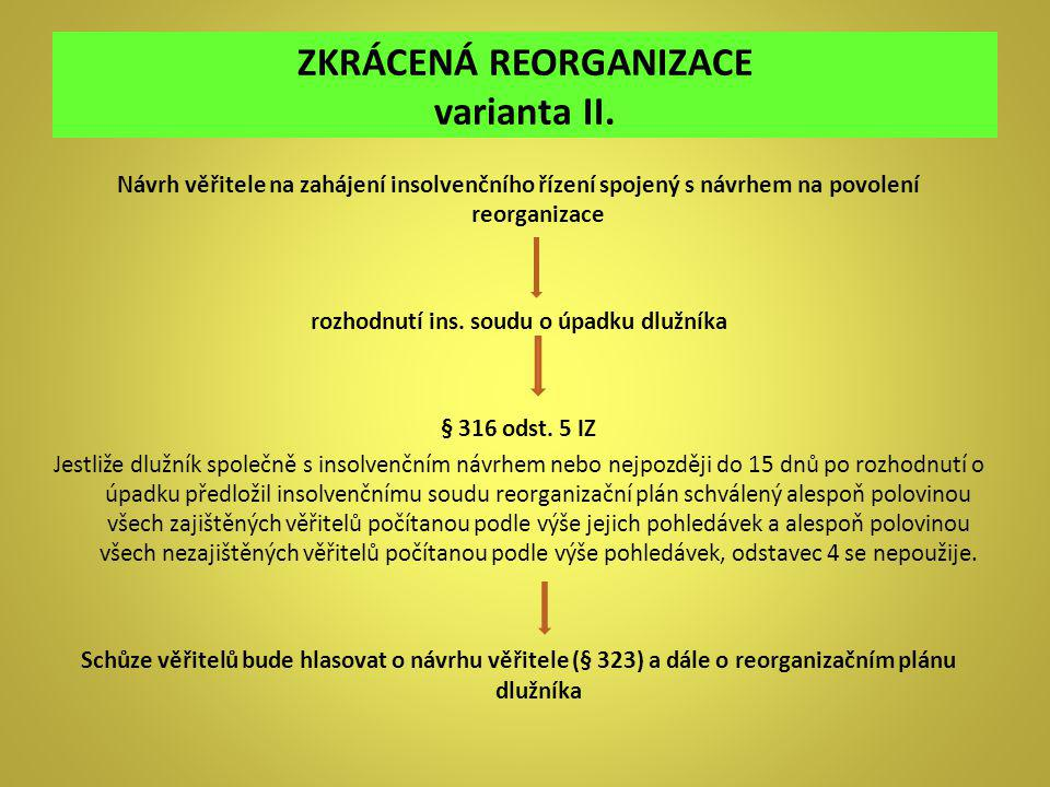 ZKRÁCENÁ REORGANIZACE varianta II.