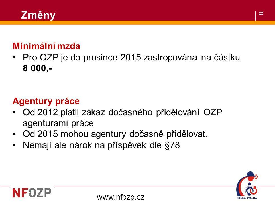 Změny Minimální mzda. Pro OZP je do prosince 2015 zastropována na částku 8 000,- Agentury práce.