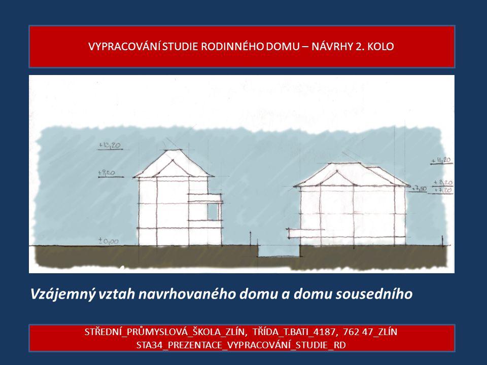 Vzájemný vztah navrhovaného domu a domu sousedního