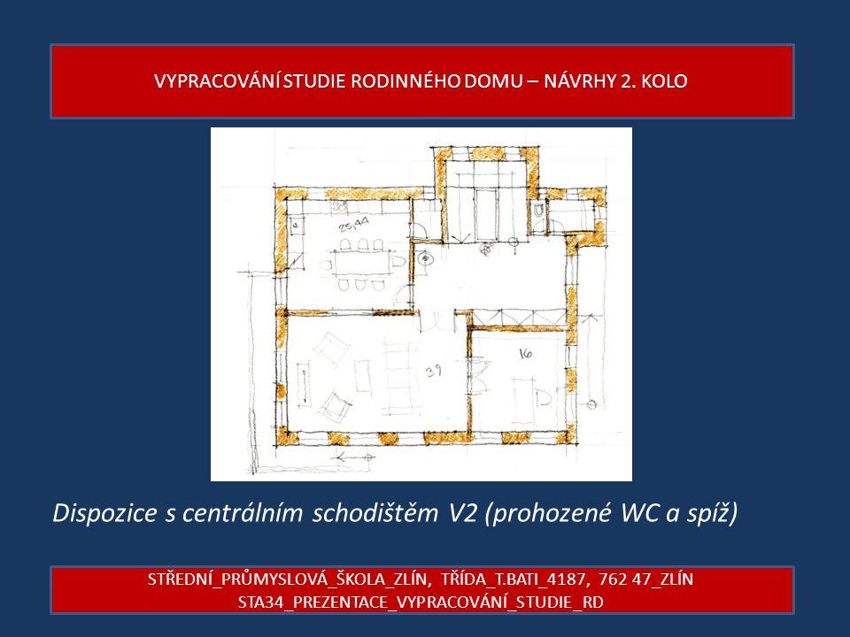 Dispozice s centrálním schodištěm V2 (prohozené WC a spíž)