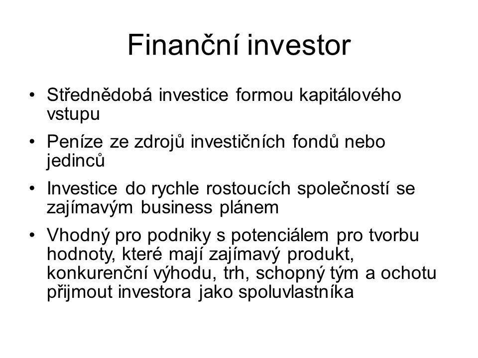 Finanční investor Střednědobá investice formou kapitálového vstupu