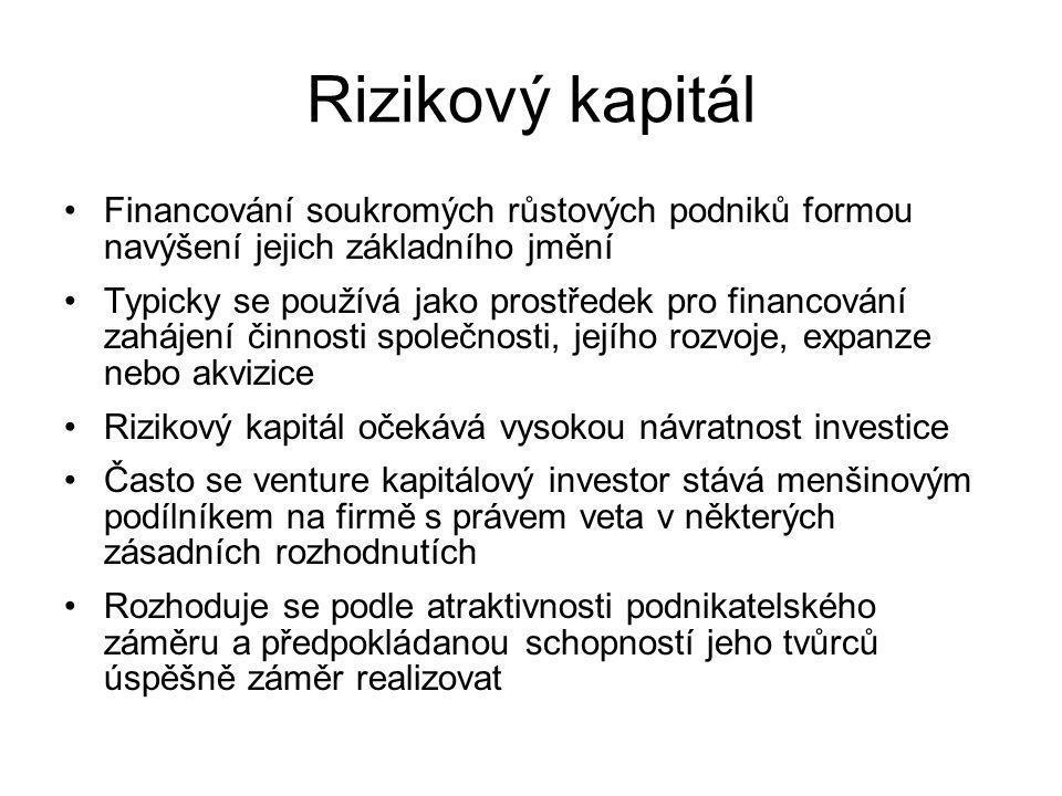 Rizikový kapitál Financování soukromých růstových podniků formou navýšení jejich základního jmění.