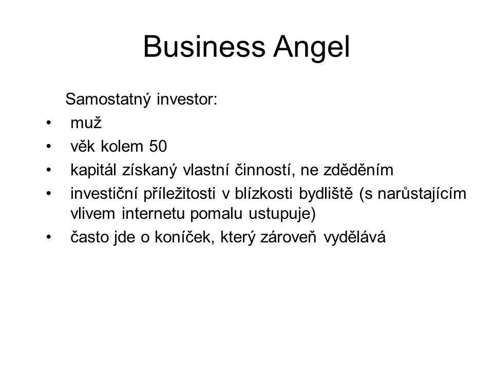 Business Angel Samostatný investor: muž věk kolem 50