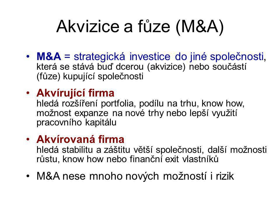 Akvizice a fůze (M&A) M&A = strategická investice do jiné společnosti, která se stává buď dcerou (akvizice) nebo součástí (fůze) kupující společnosti.