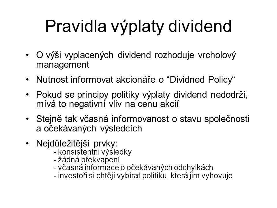 Pravidla výplaty dividend