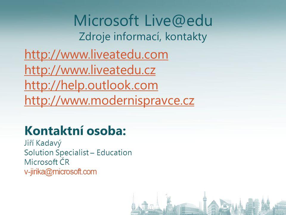 Microsoft Live@edu Zdroje informací, kontakty