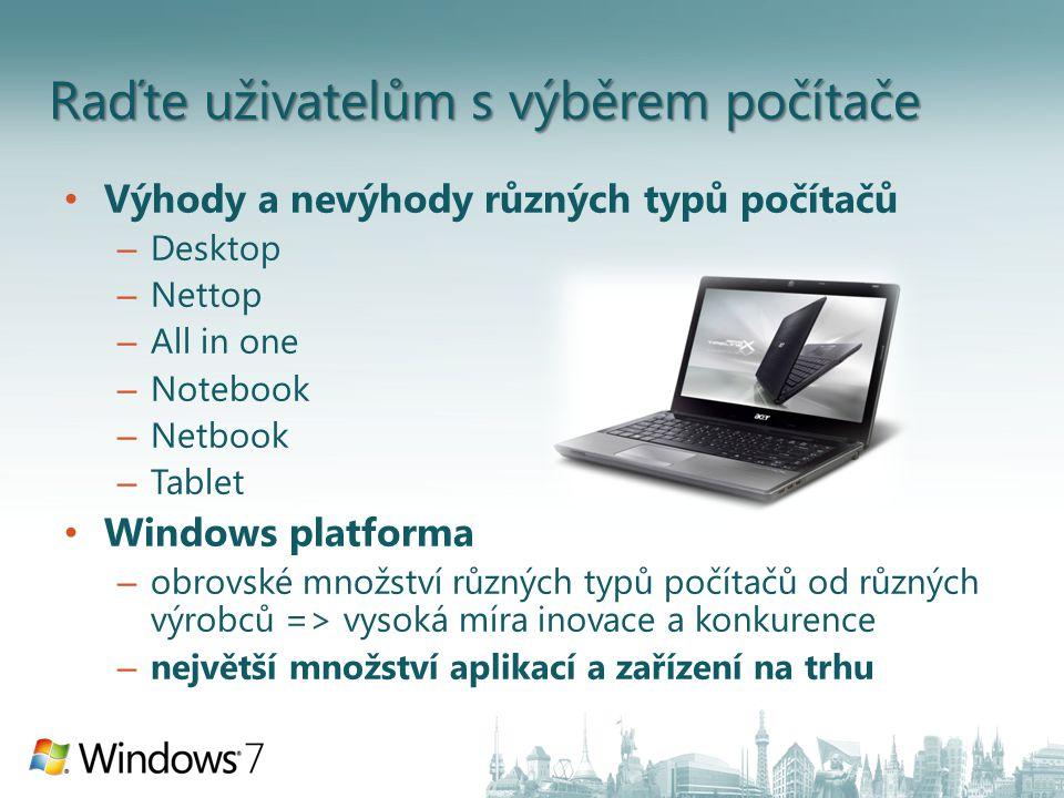 Raďte uživatelům s výběrem počítače