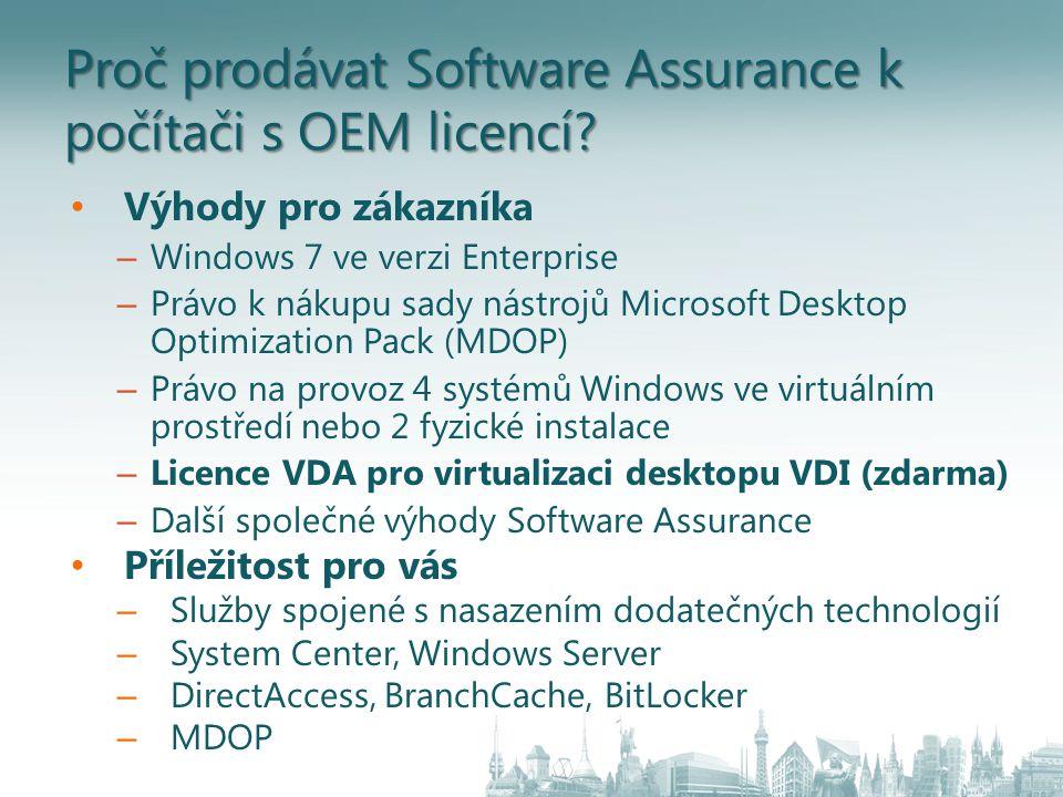 Proč prodávat Software Assurance k počítači s OEM licencí