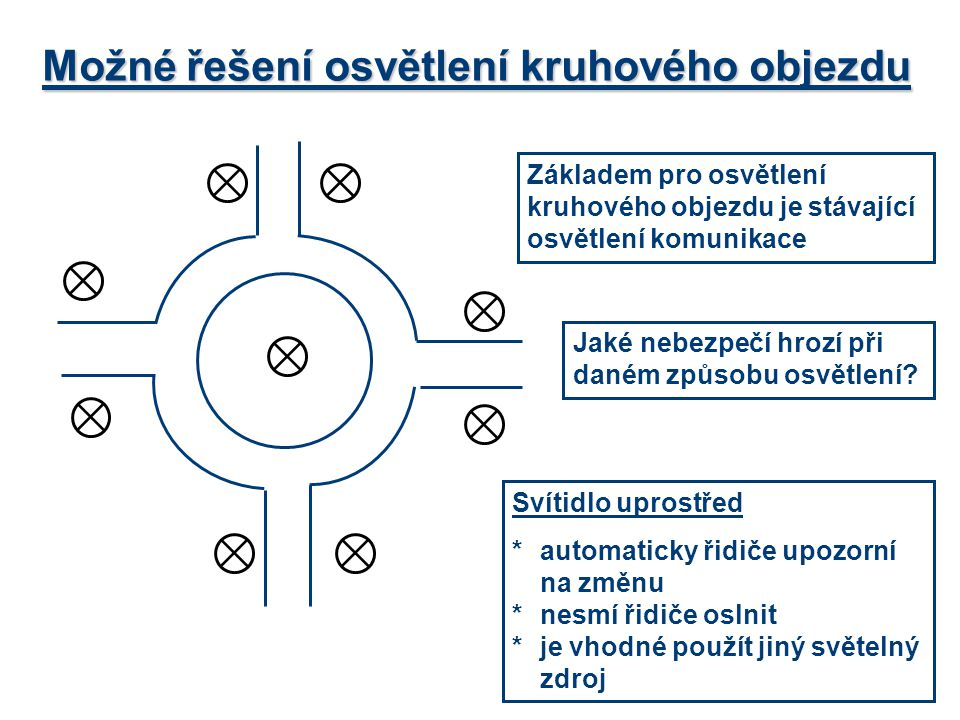 Možné řešení osvětlení kruhového objezdu