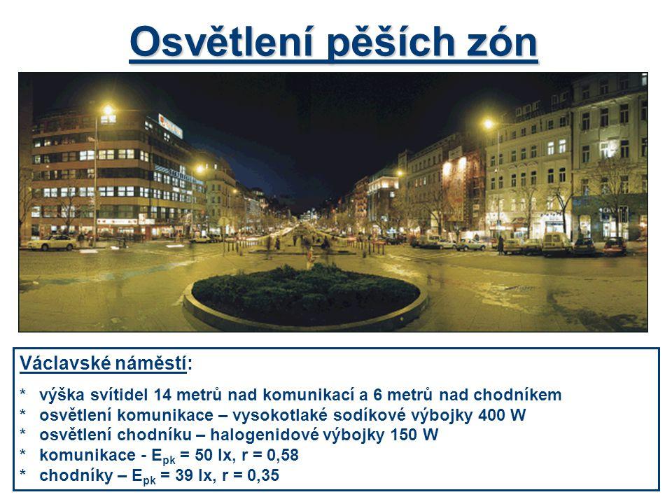 Osvětlení pěších zón Václavské náměstí: