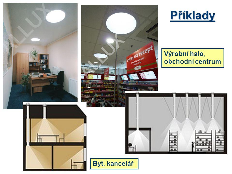 Příklady Výrobní hala, obchodní centrum Byt, kancelář