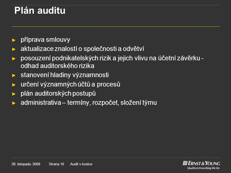 Plán auditu příprava smlouvy