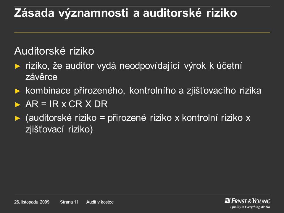 Zásada významnosti a auditorské riziko