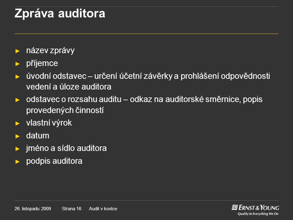 Zpráva auditora název zprávy příjemce