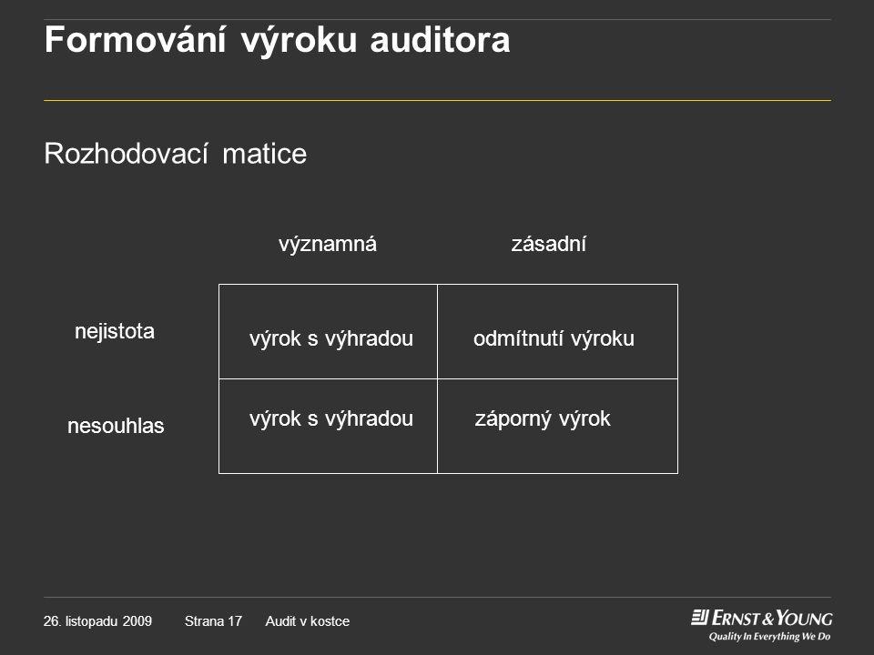 Formování výroku auditora