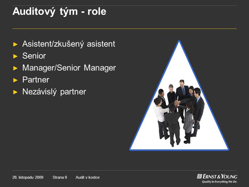 Auditový tým - role Asistent/zkušený asistent Senior