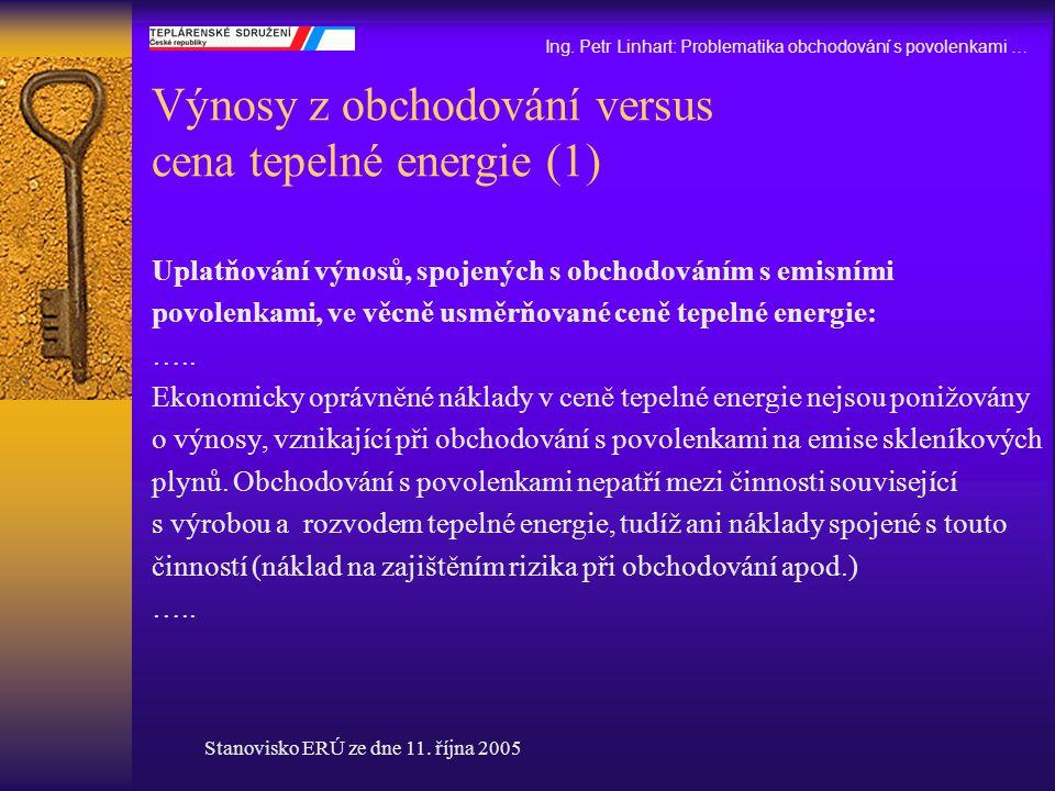 Výnosy z obchodování versus cena tepelné energie (1)