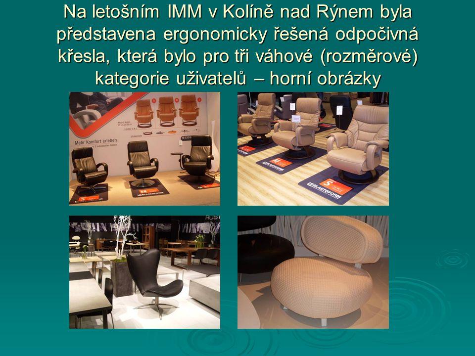 Na letošním IMM v Kolíně nad Rýnem byla představena ergonomicky řešená odpočivná křesla, která bylo pro tři váhové (rozměrové) kategorie uživatelů – horní obrázky