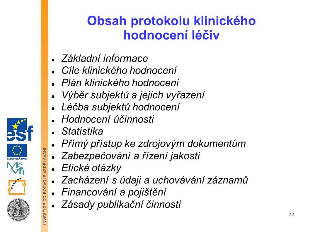 Obsah protokolu klinického hodnocení léčiv