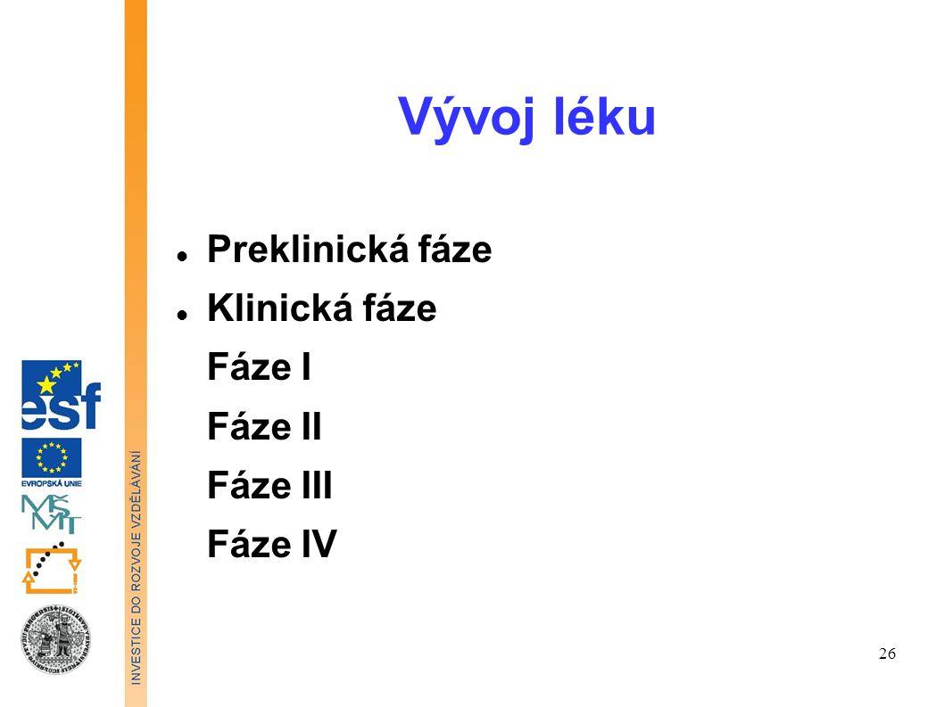 Vývoj léku Preklinická fáze Klinická fáze Fáze I Fáze II Fáze III