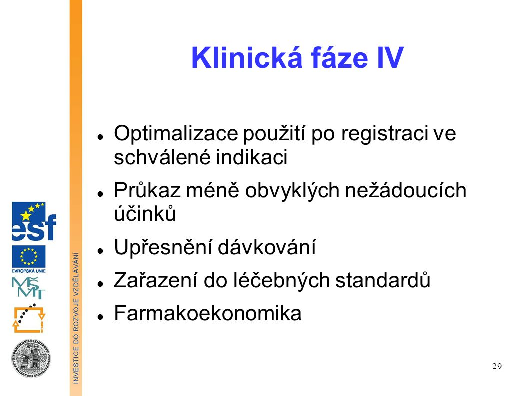 Klinická fáze IV Optimalizace použití po registraci ve schválené indikaci. Průkaz méně obvyklých nežádoucích účinků.