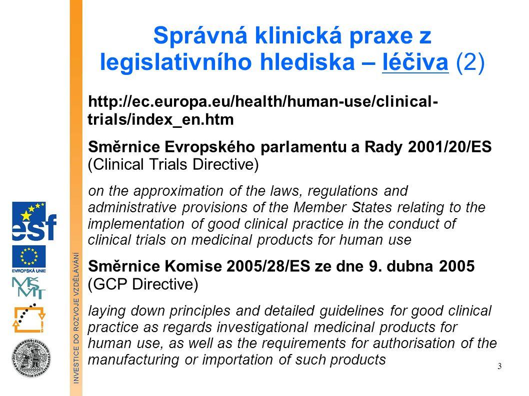 Správná klinická praxe z legislativního hlediska – léčiva (2)