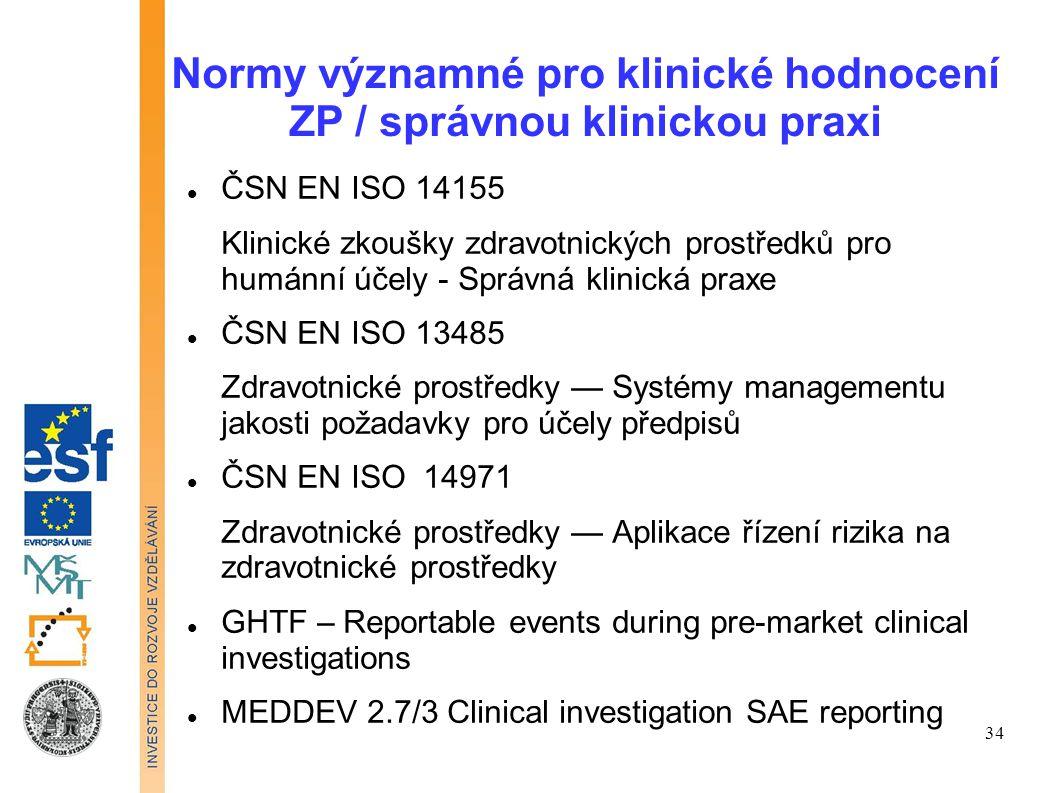 Normy významné pro klinické hodnocení ZP / správnou klinickou praxi