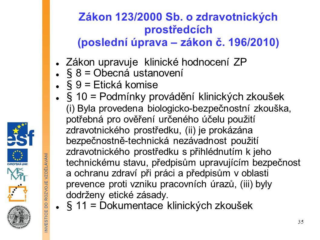 Zákon 123/2000 Sb. o zdravotnických prostředcích (poslední úprava – zákon č. 196/2010)