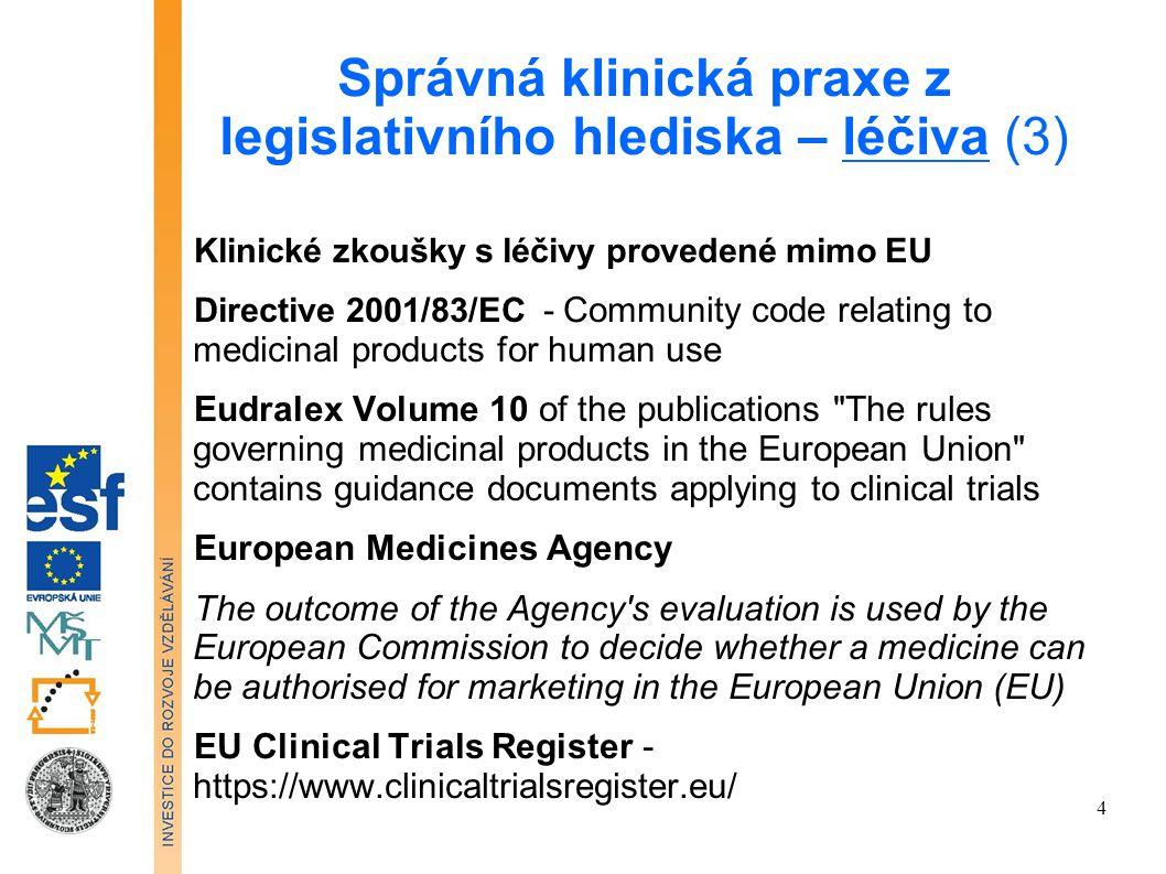 Správná klinická praxe z legislativního hlediska – léčiva (3)