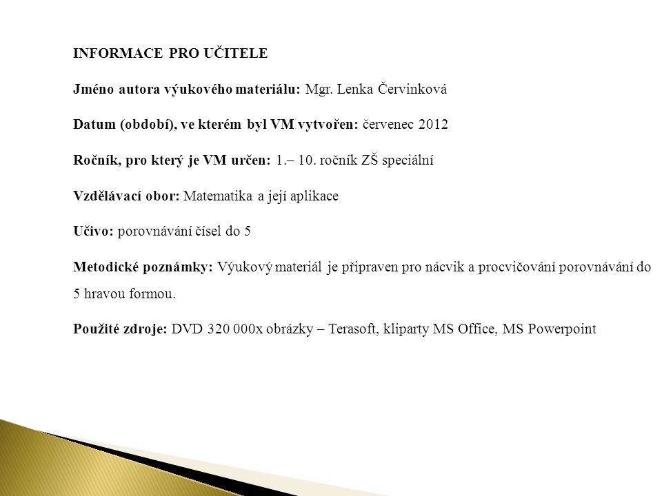 INFORMACE PRO UČITELE Jméno autora výukového materiálu: Mgr. Lenka Červinková. Datum (období), ve kterém byl VM vytvořen: červenec 2012.