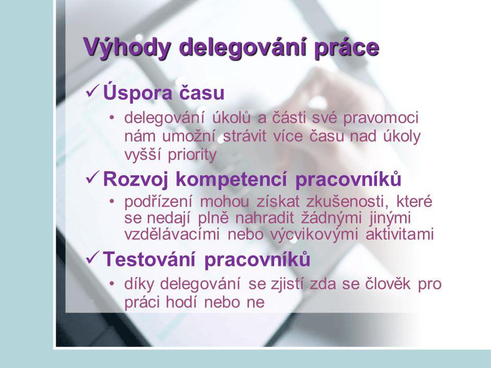 Výhody delegování práce