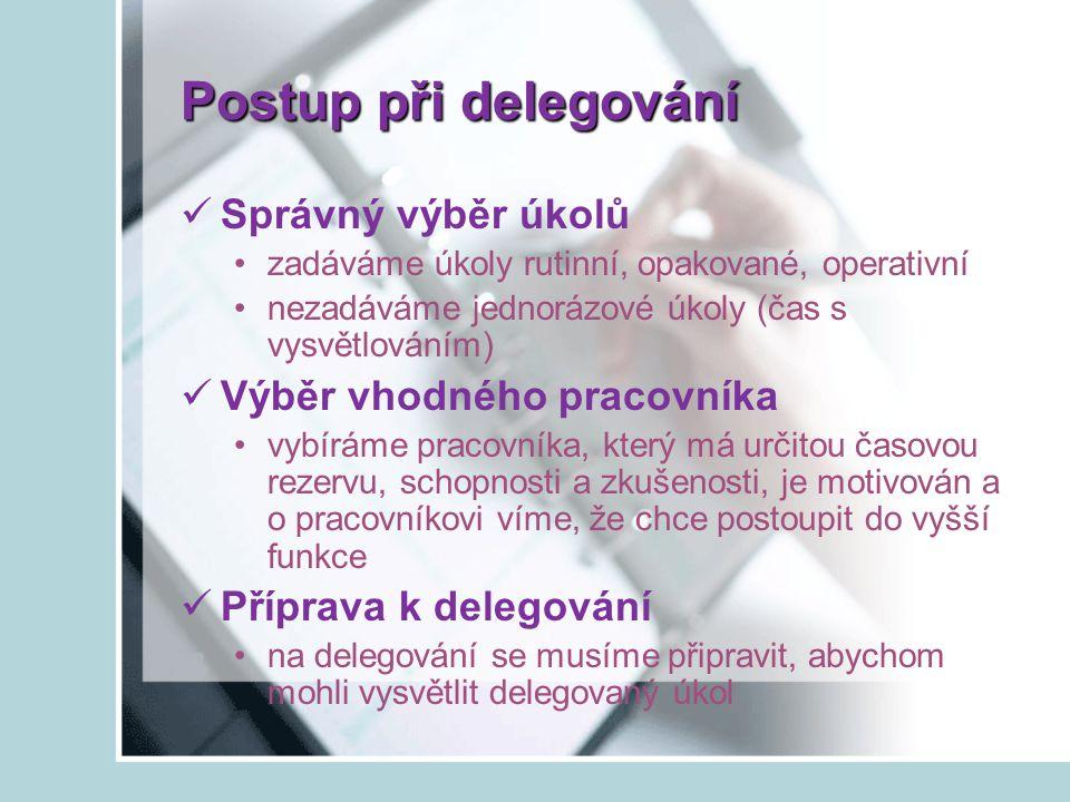 Postup při delegování Správný výběr úkolů Výběr vhodného pracovníka