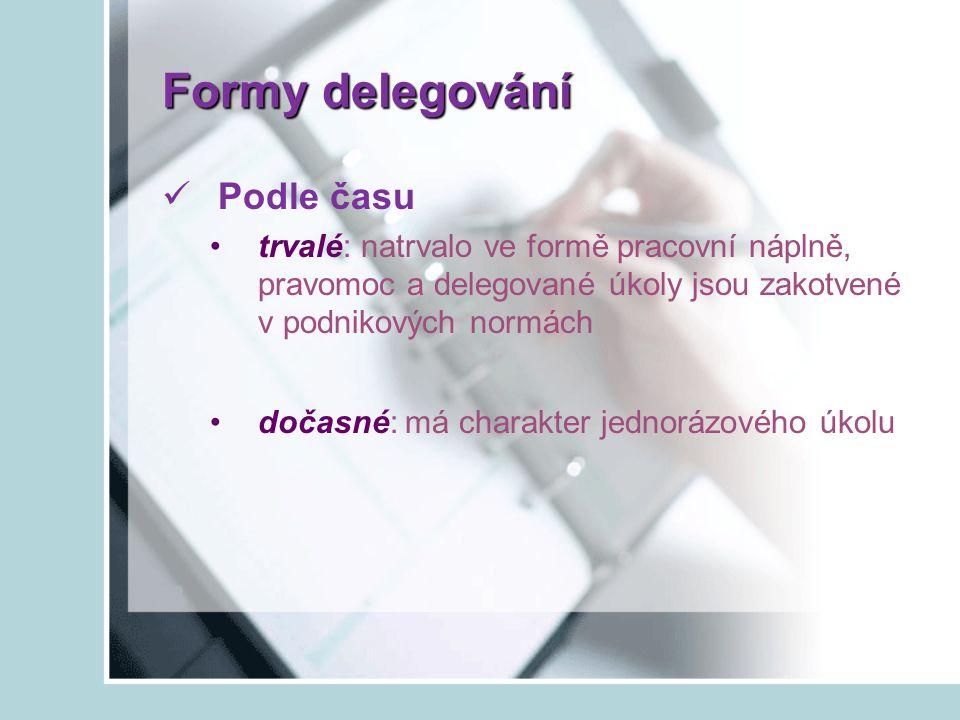 Formy delegování Podle času
