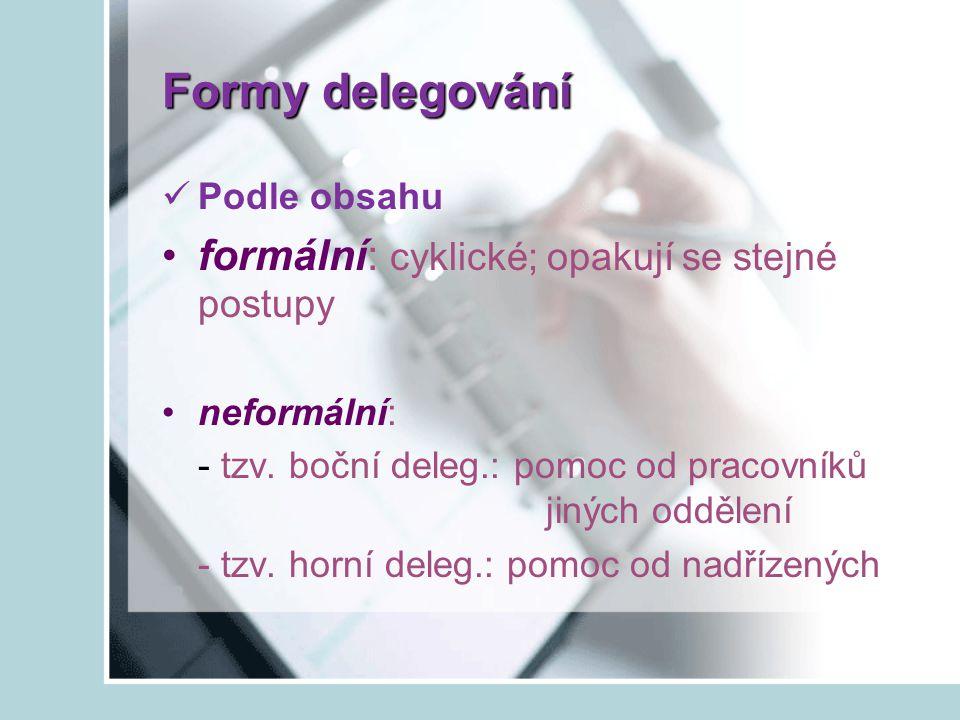 Formy delegování formální: cyklické; opakují se stejné postupy