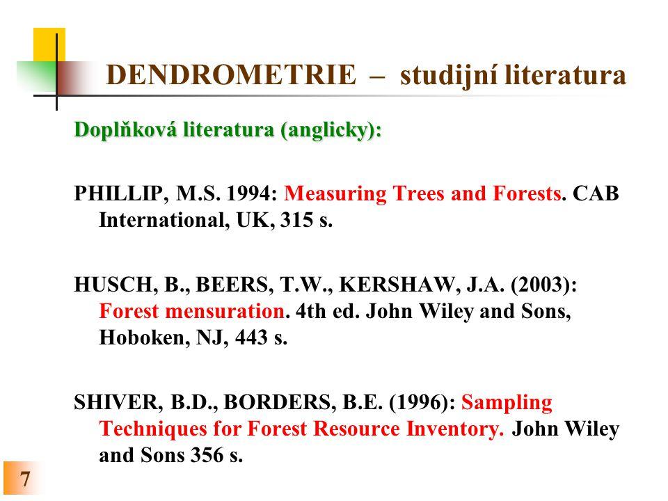 DENDROMETRIE – studijní literatura
