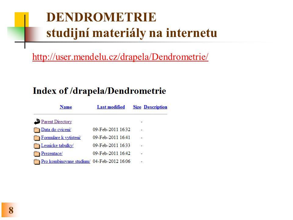 DENDROMETRIE studijní materiály na internetu