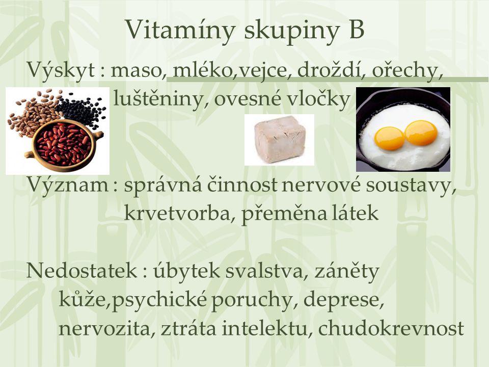 Vitamíny skupiny B Výskyt : maso, mléko,vejce, droždí, ořechy,