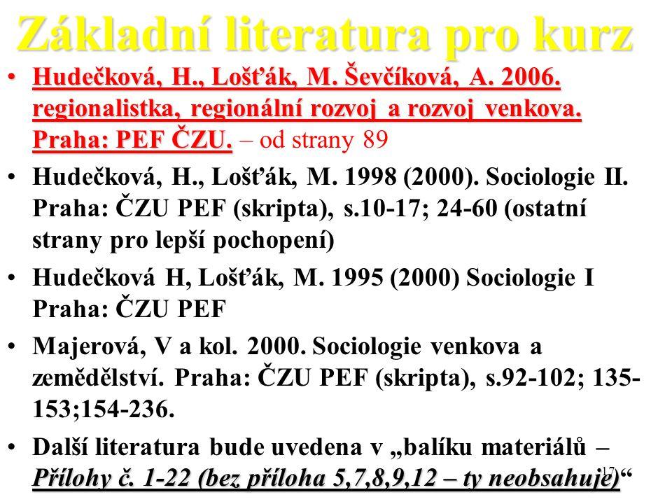 Základní literatura pro kurz