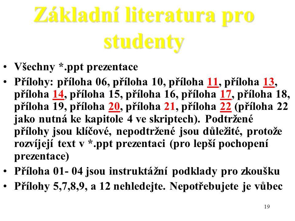 Základní literatura pro studenty