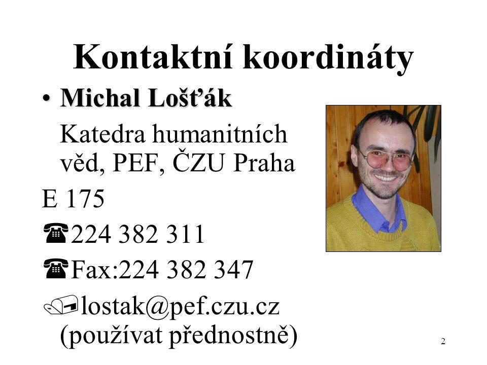 Kontaktní koordináty Michal Lošťák
